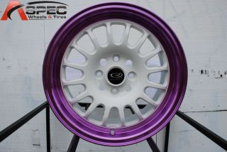 ROTA TRACK R2 4X100 +40 WHITE CANDY TONE PURPLE WHEEL FITS CIVIC YARIS