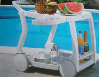 Patio Food Beverage Table Bar Cart with Wheels White New