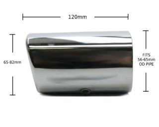 Chrome Exhaust Tip Universal Fits 56 65mm OD Pipe H59 re Rectangle