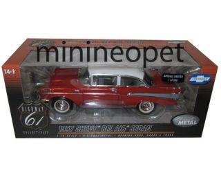 Highway 61 50921 1957 Chevy Bel Air Sedan 1 18 1 of 300 Red White