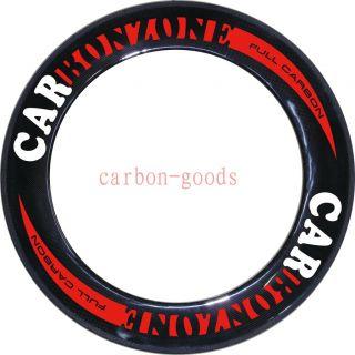 Full Carbon 3k Glossy/Red Logo Road Bike Wheels 86mm Tubular Wheelset