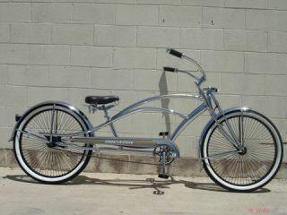 26 Stretch Beach Cruiser Bike Bicycle 68 Spokes Chrome Mustang