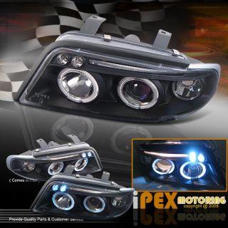 Audi 1996 1999 A4 B5 Dual Halo Rim LED DRL Projector Head Lights Lamps