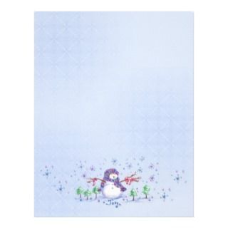 Joy Snowman Christmas Holiday Snowflake Art Paper Customized