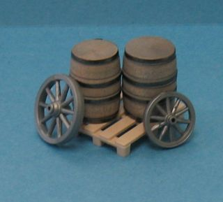 Wagon Wheels Barrels Pallet G Scale Assembled