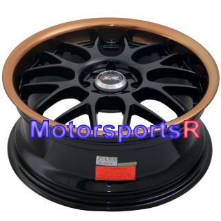006 Black Copper Lip Rims Wheels 4x114.3 91 96 Honda Prelude 92 CRX SI