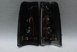 Black 99 02 Silverado 99 03 Sierra LED Rims Rear Tail Lights Lamps