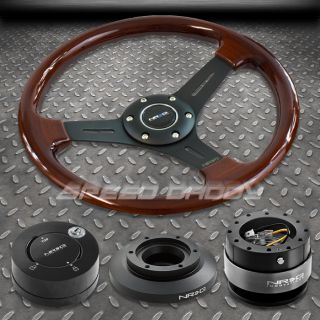 NRG Wood Steering Wheel Hub Black Quick Release 101MB Lock Kit 99 05