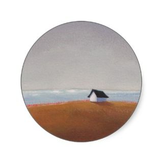 The Beach House   pretty seaside landscape art Stickers