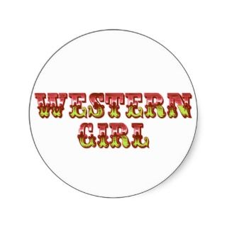Western Girl Cowgirl Pink & Green Wild West Round Sticker
