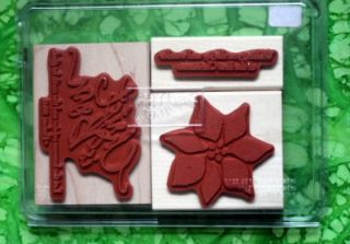 Stampin Up Christ Is Born 3 Rubber Stamps X106 Poinsetta Rejoice RARE