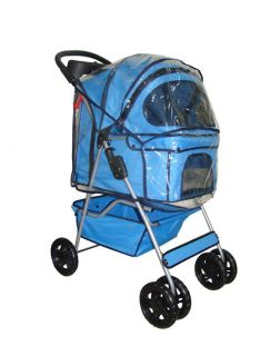 New Blue Pet Dog Cat Stroller w Raincover 3U