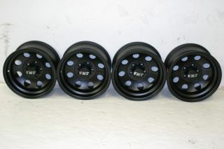 THOMPSON CLASSIC II BLACK WHEELS 15X8 5X4.5 JEEP WRANGLER YJ TJ 87 06