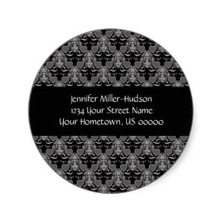 Black and White Hearts Address Sticker