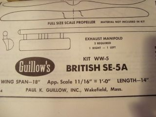 Guillows British SE 5A Model Airplane Kit Kit 104
