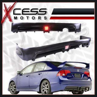 06 11 Honda Civic Sedan Mugen RR Urethane Rear Bumper Lip Spoiler LED