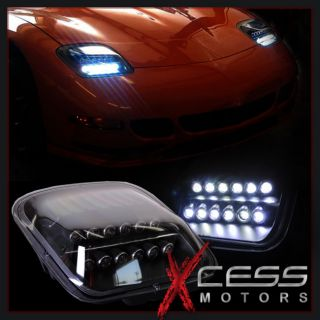High Power LED 97 04 Chevy Corvette C5 Black Housing Headlights Head