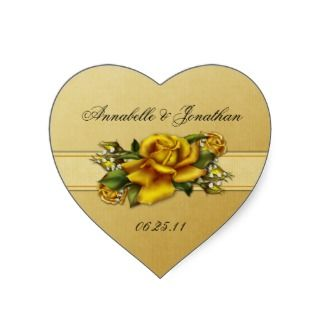 Yellow Roses Heart Wedding Sticker