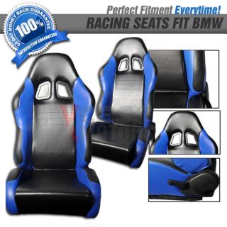 Pair of RS Type PVC Leather Racing Seats Black Blue Fit BMW