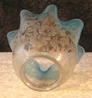 Antique Victorian Miniature Etched Blue Clear Glass Oil Lamp Shade