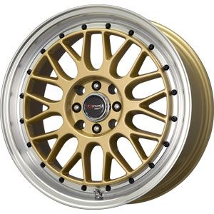 New 17x7 5 5x100 5x114 3 Drag Dr 44 Gold Wheels Rims