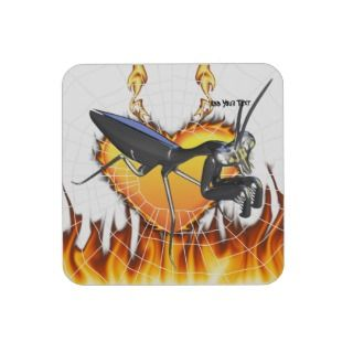 Chromed praying mantis design 1 with fire and web coaster