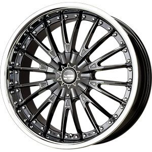 135/5 139.7 Lx M Black CNC Mach W/ Stainless Chrome Lip Wheel/Rim