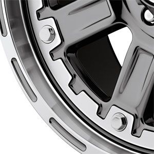 139.7 American Outlaw Armor Charcoal Chrome Machined Lip Wheels Rims