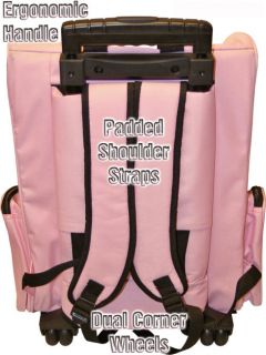 Pink Backpack Car Seat Roller Pet Carrier on Wheels