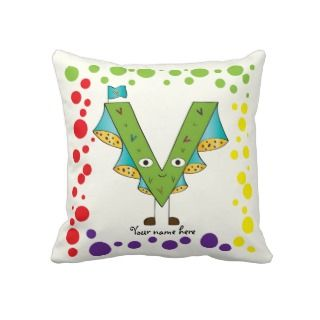 Funny Fellows™ Cartoon Character Alphabet Letter V Throw Pillows