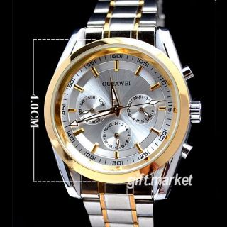 New White Gold Tone Day Date Automatica Mechanical Mens Steel Band