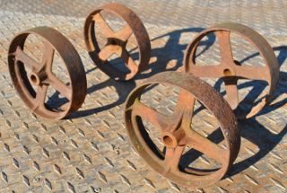 Old Set Cast Iron 4 Spoke Wheels Hit Miss Gas Engine Maytag Cart