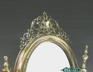 Polish Silvered Brass Dresser Toilet Table Mirror C1900