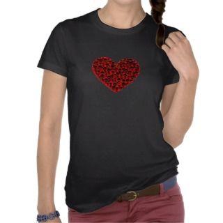 Red Skull Heart Tee Shirts