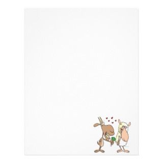 cute goat sheep love cartoon letterhead template