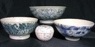 1600 Chinese Ming Dynasty Porcelain Phoenix Bowl from Shipwreck