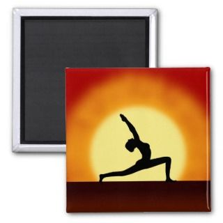 Yoga Pose Woman Silhouette Sunrise Square Magnets