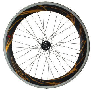 Fixie Single Speed Road Bike Track Wheel Wheelset Deep V Tyres Yellow