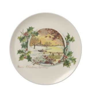 Merry Christmas Greetings Vintage Plate
