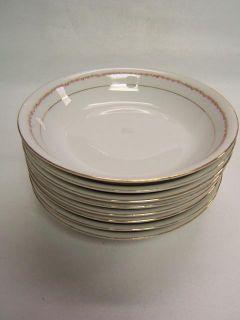 Victoria Austria Porcelain Gold Rim Roses 8 Soup Bowls