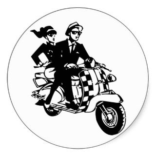 Ska Couple on Scooter (pack of 6/20) Stickers