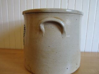 Antique Stoneware Crock Cobalt Blue Flower 2 Gal Decorated Great Color