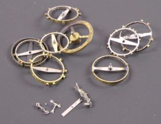 of Assorted Vintage Steampunk Pocket Watch Parts including wheels, etc