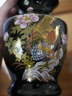 Vintage Japanese Chinese Asian Black Gold Pheasant Floral Porcelain