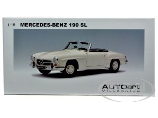 Mercedes 190 SL White 1 18 Diecast Car Model by Autoart 76117