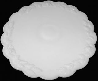 Westmoreland Milk Glass Paneled Grape Pattern Low Footed 12D Cake