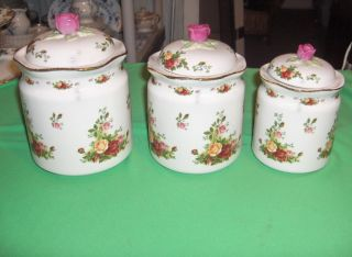 PC Royal Albert Bone China of England Old Country Roses Canisters