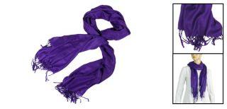 Ladies Tassel Rim Detail Long Spring Shawl Scarf Stole Dark Purple