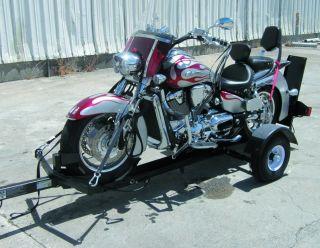 New Stinger Folding Single Motorcycle Cruiser Sport Bike Trike Trailer