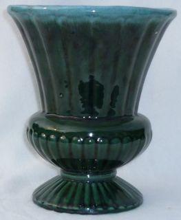Vintage Hull Art Pottery Green Agate Urn Vase F31